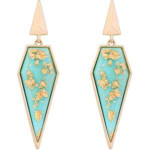Beautiful Green & Gold enamel drop earrings